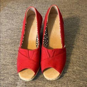 TOMS Red Peep-toe Wedge
